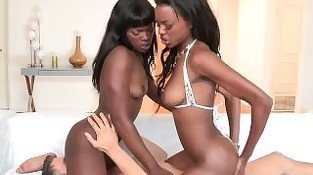 Reality Kings - White dude fucks two sexy ebony babes