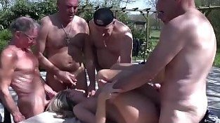 Six pissed old men gangbang a rich young bitch to revenge