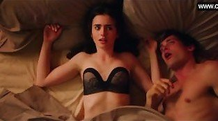 Lily Collins - Funny Sex Scene, Teen Girl Lingerie Underwear - Love, Rosie