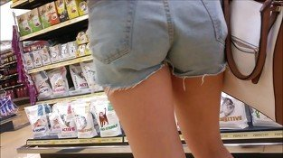 HOT teen in hotpants shopping for her pussycat