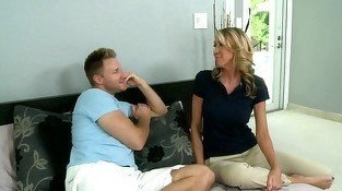 MILF blonde talking to her young boyfriend