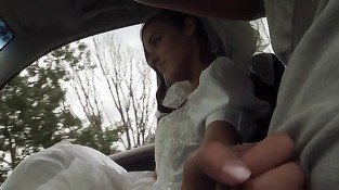 Bride with perfect round butt fucked on the hood