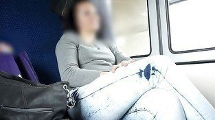 Leggy brunette on a train gets seduced