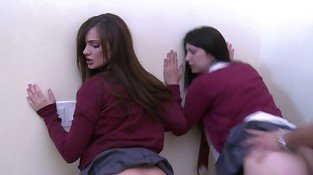 Two schoolgirls in white panties get fucked from behind